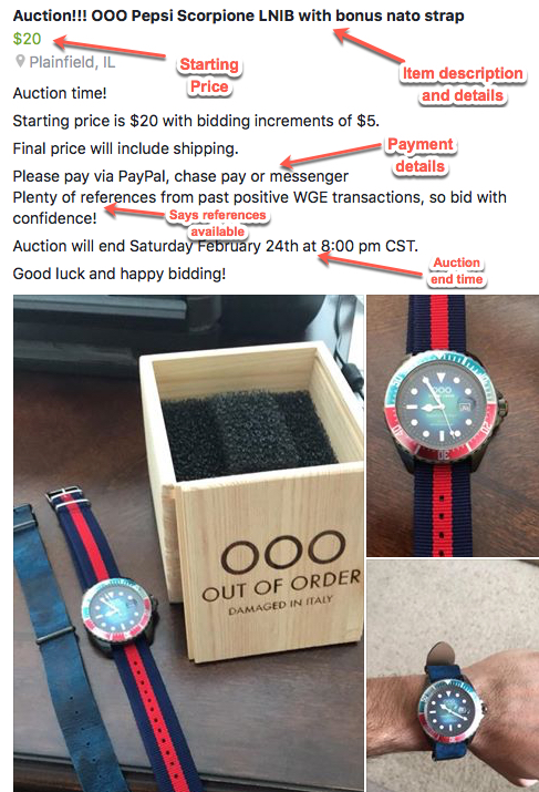 Running Auctions in the Watch Gang Exchange
