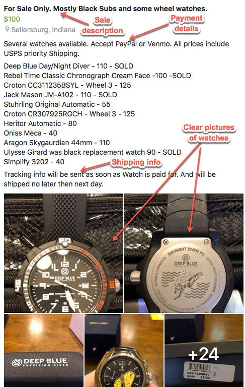 Selling in the Watch Gang Exchange: How to List a Sale
