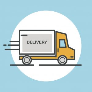 Delivery truck icon. Flat design vector illustration.